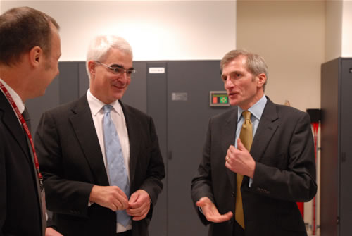 (L-R) Richard Kenway, Director UoE HPCX Ltd; Alistair Darling MP, Chancellor of the Exchequer; and Professor Arthur Trew, Director 