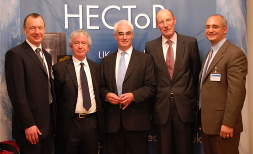 (L-R) Professor Richard Kenway, Director of UoE HPCX Ltd; Professor Sir Timothy O'Shea, Principal of The University of Edinburgh; R