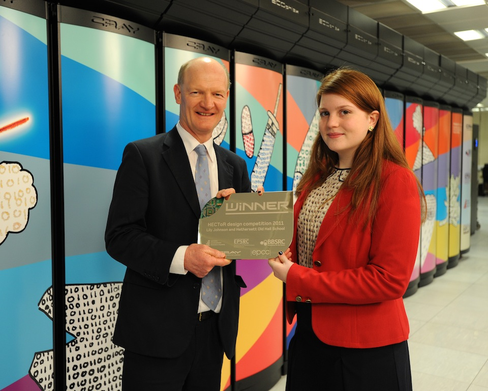 David Willetts MP, Minister for Universities and Science with Lily Johnson, winner of the HECToR Schools Art Competition (Photo: P. Tuffy, University of Edinburgh)